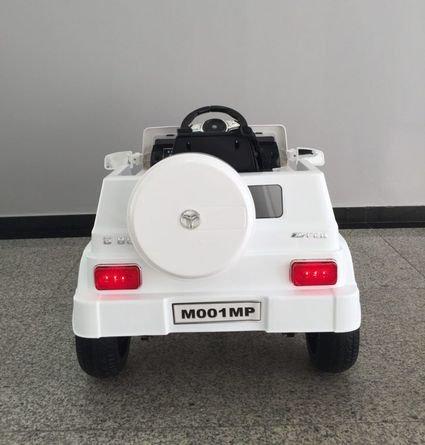 Электромобиль Мерседес Гелик М001МР белый (колеса резина, сиденье кожа, пульт, музыка)