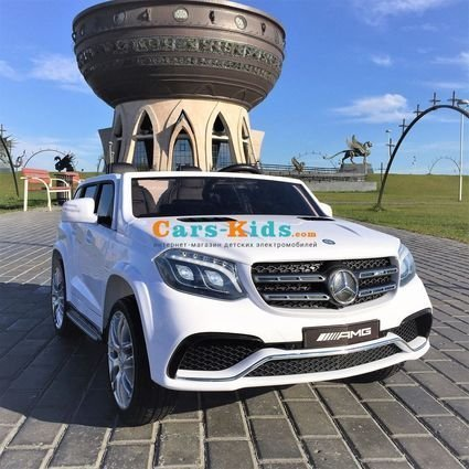 Электромобиль Mercedes-Benz GLS 63 AMG 4WD белый (2х местный, колеса резина, сиденье кожа, пульт, музыка)