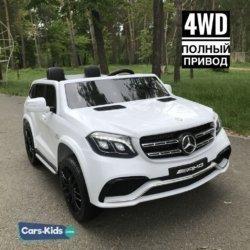 Электромобиль Mercedes-Benz GLS 63 AMG 4WD белый (2х местный, кондиционер, колеса резина, сиденье кожа, пульт, музыка)