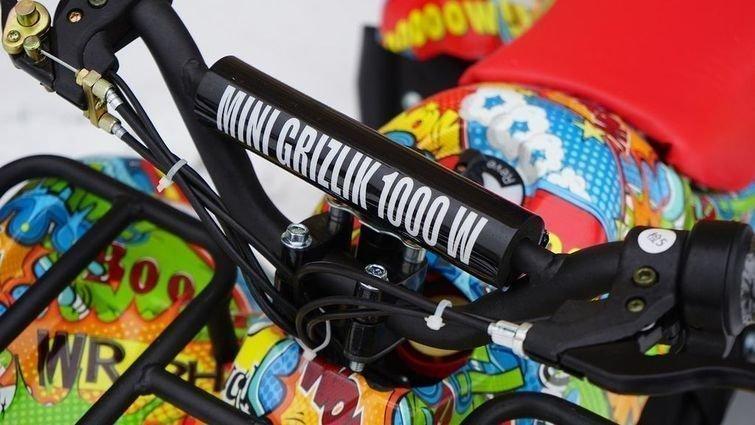 Детский квадроцикл на аккумуляторе MOTAX Mini Grizlik Х-16 Big Wheel 1000W бомбер (пульт контроля, до 35 км/ч, большие колеса)