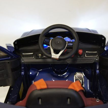 Электромобиль Lexus Е111КХ синий (колеса резина, кресло кожа, пульт, музыка)