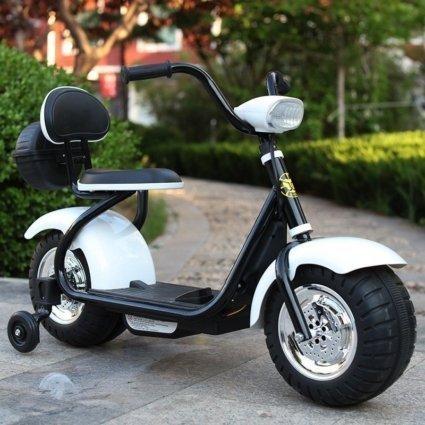 Детский электромотоцикл CityCoco - QK-306 белый (свет фар, музыка)