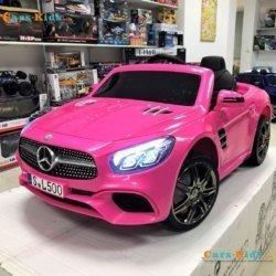Электромобиль Mercedes-Benz SL500 AMG розовый (колеса резина, кресло кожа, пульт, музыка)
