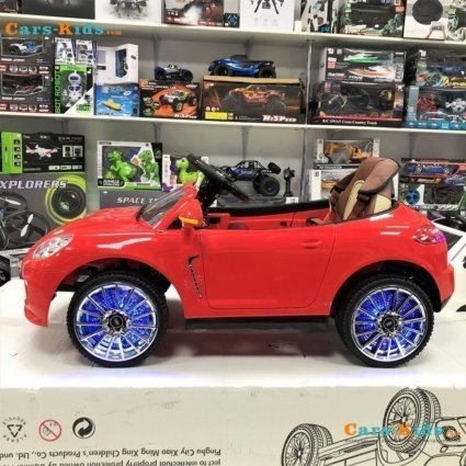 Электромобиль Porsche Panamera A444AA красный (колеса резина, кресло кожа, пульт, музыка)
