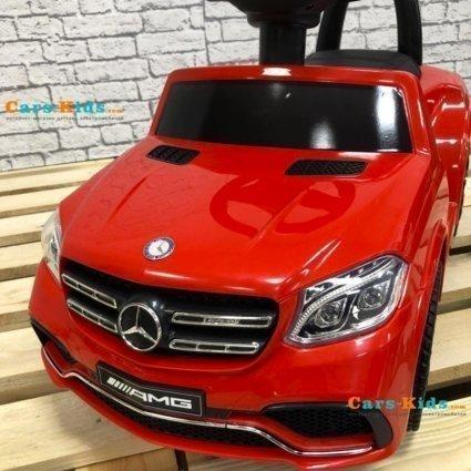 Электромобиль каталка Mercedes-AMG GLS63 HL600 LUX красный (колеса резина, кресло кожа, пульт, музыка)