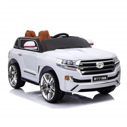 Электромобиль Toyota LC200 B111BB белый (колеса резина, кресло кожа, пульт, музыка)