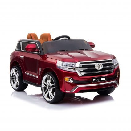 Электромобиль Toyota LC200 B111BB красный (колеса резина, кресло кожа, пульт, музыка)