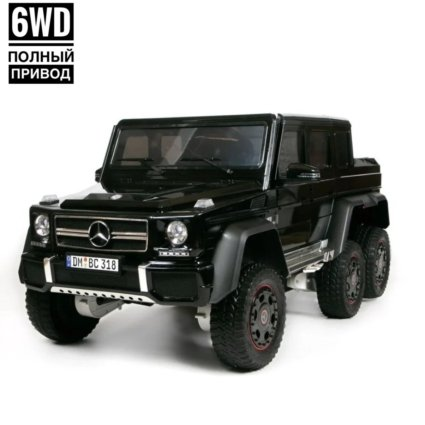 Электромобиль Mercedes Benz G63 6WD DMD318 черный (колеса резина, кресло кожа, пульт, музыка)