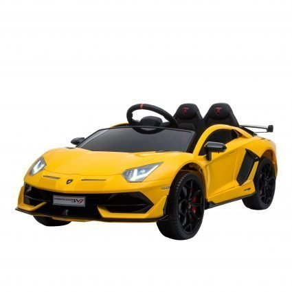 Электромобиль Lamborghini Aventador SVJ 12V - BLACK - HL328 (колеса резина, кресло кожа, пульт, музыка)