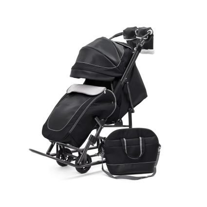 """Санки-коляски Pikate Deluxe «Black» (морозостойкая экокожа, овчина, 3 положения спинки, краска рамы """"черный металлик"""")"""
