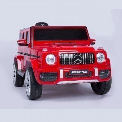 Электромобиль Mercedes-Benz G63 T999TT красный (кресло кожа, колеса резина, пульт, музыка)