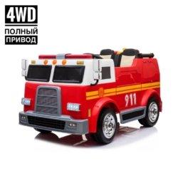 Электромобиль Пожарная машина M010MP 4WD красный (полный привод, двухместный, колеса резина, кресло кожа, пульт, музыка)