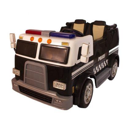Электромобиль Полицейская машина M010MP 4WD черный (полный привод, двухместный, колеса резина, кресло кожа, пульт, музыка)