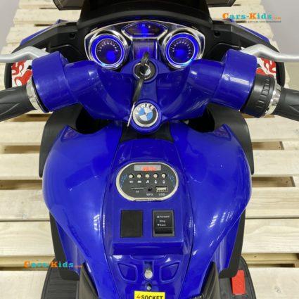 Электромотоцикл BMW R1200RT синий 12V - HZB-118 (колеса резина, кресло кожа, музыка, ручка газа)
