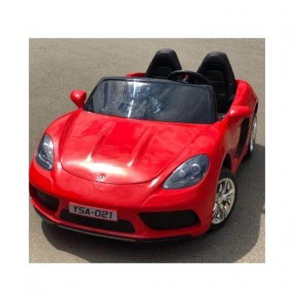 Электромобиль Porshe Cayman YSA021 красный (кресло кожа, колеса резина, пульт, музыка)