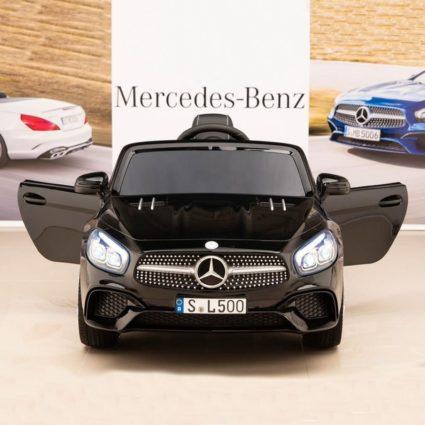 Электромобиль Mercedes-Benz SL500 AMG черный (колеса резина, кресло кожа, пульт, музыка)