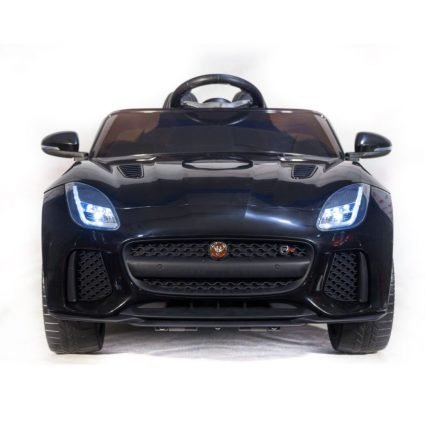 Электромобиль Jaguar F-Type QLS-5388 4WD черный (полный привод, колеса резина, кресло кожа, пульт, пузыка)