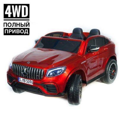 Электромобиль Mercedes-Benz AMG GLC63 2.0 Coupe 4WD красный (двухместный, колеса резина, кресло кожа, пульт, музыка)