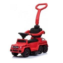 Электромобиль-каталка Mercedes-Benz G63 AMG 6x6 красный (педаль газа, музыка, свет фар, резиновые колеса, мягкое сиденье)