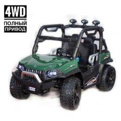Электромобиль Багги 3314 DLS02A зеленый (полный привод, резиновые колеса, кожаное кресло, пульт, музыка)
