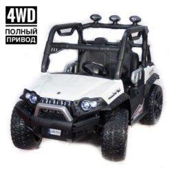 Электромобиль Багги 3314 DLS02A белый (полный привод, резиновые колеса, кожаное кресло, пульт, музыка)