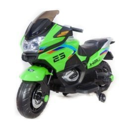 Электромотоцикл Moto XMX609 зеленый (колеса резина, сиденье кожа, музыка, страховочные колеса)