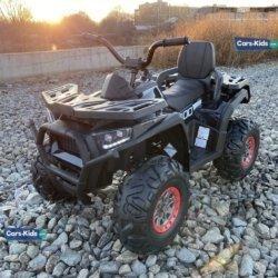 Электроквадроцикл XMX607 черный карбон (задний привод, колеса резина, кресло кожа, пульт, музыка)
