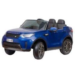 Электромобиль Land Rover Discovery синий (колеса резина, кресло кожа, пульт, музыка)