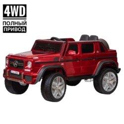 Электромобиль Mercedes-Benz Maybach Small G650S красный (полный привод, колеса резина, кресло кожа, пульт, музыка)