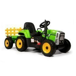 Электромобиль трактор с прицепом TR77 (колеса резина, кресло кожа, пульт, музыка, прицеп)